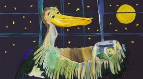 Иллюстрация акварели с пеликаном и рыбами стоковые изображения