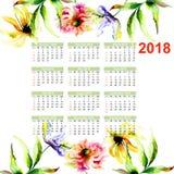 Иллюстрация акварели с полевыми цветками Стоковые Изображения