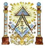 Иллюстрация акварели с freemason и загадочными символами изолированная на белизне бесплатная иллюстрация
