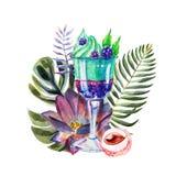 Иллюстрация акварели тропическая с мороженым, плодами и цветками иллюстрация штока