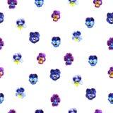 Иллюстрация акварели фиолетовых цветков картина безшовная Pansies акварели предпосылка красивой акварели Стоковое Изображение RF