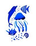 Иллюстрация акварели Sealife нарисованная рукой стилизованная с dolphine и медузами иллюстрация вектора