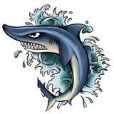 иллюстрация акулы с открытым ртом полным острых зубов Нападения акулы от воды бесплатная иллюстрация