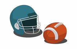 Иллюстрация американского футбола оборудования, шлем и шарик, изолировала голубое иллюстрация штока