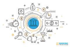 Иллюстрация банковского обслуживания и концепции финансов Стоковые Фото