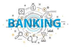 Иллюстрация банковского обслуживания и концепции финансов Стоковое Фото