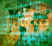 Иллюстрация безопасностью 3d угрозой цифров замка Cybersecurity Стоковые Изображения RF