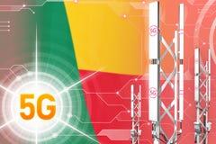 Иллюстрация Бенина 5G промышленная, огромный клетчатый рангоут сети или башня на цифровой предпосылке с флагом - иллюстрации 3D иллюстрация штока