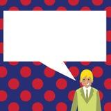 Иллюстрация бизнесмена усмехаясь и разговаривая с пустым прямоугольным пузырем речи Творческая идея предпосылки для иллюстрация штока