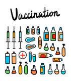 Иллюстрация вакцинирования красочная с медицинскими элементами вручает вычерченный минимализм для терапии и neonatology педиатрии иллюстрация вектора