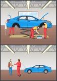 Иллюстрация вектора автоматических механиков обслуживания автомобиля бесплатная иллюстрация