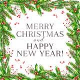 Иллюстрация вектора акварели Рамка рождества с ветвями ели, падуб весёлый и ягоды guelder розовые карточка 2007 приветствуя счаст Стоковое Фото