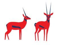 Иллюстрация вектора антилопы Антилопа вектора в необыкновенных смелых цветах Антилопа в differeent наборе представлений иллюстрация вектора