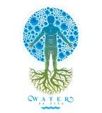 Иллюстрация вектора атлетического человека сделанная с корнями дерева и окруженная с пузырями воды, элементом воды environment иллюстрация штока
