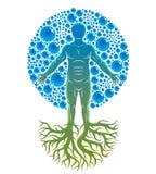 Иллюстрация вектора атлетического человека сделанная с корнями дерева и окруженная с пузырями воды, элементом воды environment бесплатная иллюстрация