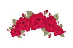 Иллюстрация вектора венка года сбора винограда розовая Красные розы изолированные с цветениями и листьями Стоковое фото RF