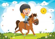 Иллюстрация вектора верховой лошади ребенк Стоковое Изображение RF