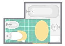 Иллюстрация вектора взгляд сверху ванной комнаты внутренняя План здания уборного Стоковые Фотографии RF