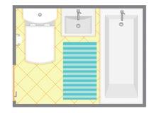 Иллюстрация вектора взгляд сверху ванной комнаты внутренняя План здания уборного Стоковая Фотография