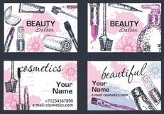 Иллюстрация вектора визитной карточки салона красоты нарисованная рукой Стоковое Фото
