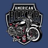 Иллюстрация вектора винтажной эмблемы мотоцикла иллюстрация штока