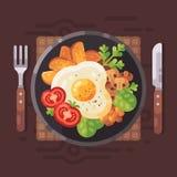 Иллюстрация вектора вкусного завтрака плоская Плита с вкусной едой иллюстрация вектора