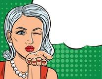 Иллюстрация вектора в шуточном стиле искусства милой женщины с подмигивать глазу Иллюстрация штока