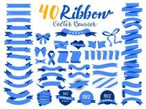 Иллюстрация вектора голубой ленты 40 с плоским дизайном Включил графический элемент как ретро значок, ярлык гарантии, бирка прода иллюстрация штока