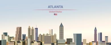 Иллюстрация вектора горизонта города Атланта на предпосылке неба дня красочного градиента красивой с флагом Соединенных Штатов иллюстрация штока