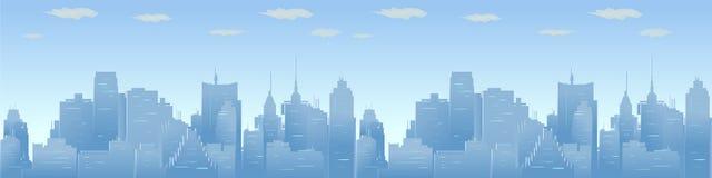 Иллюстрация вектора горизонта города Городская панорама, городской пейзаж дневного времени в плоском стиле Стоковые Фото