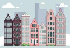 Иллюстрация вектора горизонта города Городской пейзаж дневного времени в плоском стиле стоковые фото