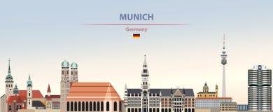 Иллюстрация вектора горизонта города Мюнхена на предпосылке неба дня красочного градиента красивой с флагом Германии иллюстрация вектора