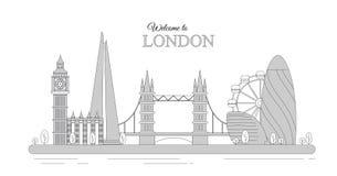 Иллюстрация вектора городского пейзажа Лондона как infographic туристские визирования Великобритании, гостеприимсво к Великобрита бесплатная иллюстрация