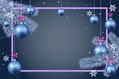 Иллюстрация вектора границы с Рождеством Христовым и счастливого украшения открытки приветствию Нового Года безшовная Стоковые Изображения RF