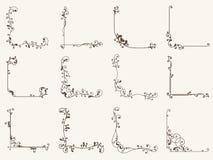 Иллюстрация вектора декоративного углового комплекта рамки Стоковые Фотографии RF