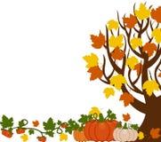 Иллюстрация вектора дерева падения с листьями, оранжевый и белый иллюстрация вектора
