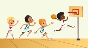 Иллюстрация вектора детей играя баскетбол Команда играя игру Конкуренция команды иллюстрация штока