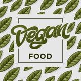 Иллюстрация вектора дизайна концепции еды Vegan Зеленая безшовная картина с лист Рукописная литерность для ресторана Стоковые Фотографии RF