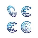 Иллюстрация вектора дизайна логотипа технологии письма c Стоковые Фотографии RF