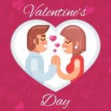 Иллюстрация вектора дизайна романтичной любимой концепции дня валентинок значка символа женщины человека датировка плоская иллюстрация штока