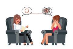 Иллюстрация вектора дизайна характера пациента совета консультации депрессии психолога сидя говоря плоская бесплатная иллюстрация