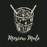 Иллюстрация вектора для дизайна меню в винтажном стиле, рисуя с мелом на классн классном Коктеиль осла Москвы бесплатная иллюстрация