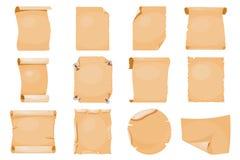Иллюстрация вектора документа пергамента страницы старой бумажной рукописи папируса переченя крена старой винтажной античной ретр Стоковое Изображение
