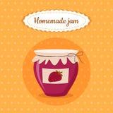 Иллюстрация вектора еды десерта клубники сладостного милого опарника варенья домодельная для плаката, открытки, меню иллюстрация вектора
