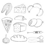 Иллюстрация вектора еды Seth, хлеба, пиццы, рыбы, сосисок, сыра, чеснока, перца, барбекю иллюстрация штока