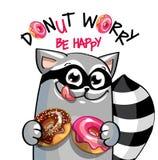 Иллюстрация вектора енота шаржа с donuts стоковая фотография