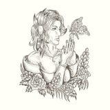 Иллюстрация вектора женщины и бабочки handdrawn иллюстрация штока