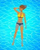 Иллюстрация вектора женщины плавая на воду Стоковая Фотография