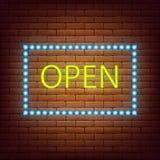 Иллюстрация вектора знака неонового света 7 открытого магазина 24 неоновой вывески Стоковая Фотография