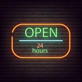 Иллюстрация вектора знака неонового света 7 открытого магазина 24 неоновой вывески Стоковое Изображение
